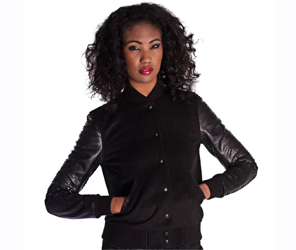 Woman's Black Signature Varsity Jacket by Born In Skin